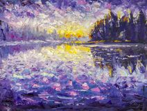Impressionism palette knife oil painting on canvas Morning on the river. Sunrise on the water. Sunset over the river. Reflection i. Palette knife fragment stock illustration