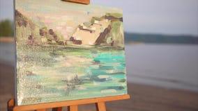 Impressionismestijl schilderen uitgevoerd in olie stock video