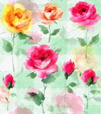 Impressionist oil painting Rose blossom Flowers seamless pattern Stock Photos