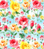 Impressionist oil painting Rose blossom Flowers on white groundseamless pattern. Rose wall paper original art  colorful watercolor painting wallpaper on a white Stock Photography