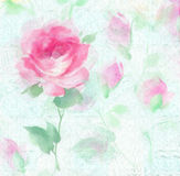Impressionist Painterly watercolor Rose blossom Flowers. MysteriousRose wall paper original art watercolor painting Stock Photo