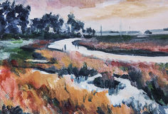 Impressionist painting of river through wetlands stock photo