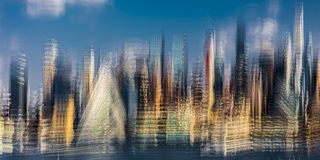 Impressionist View of Midtown Skyline of Manhattan, New York shows VIA 57 West at 625 West 57th St. in Hell's Kitchen Pyramid, Oct Royalty Free Stock Images