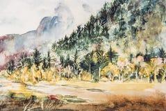 Impressionistaquarellmalerei des Berges und der Bäume Stockfotografie