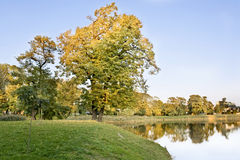 Impressionistic fall. Autumn park with ancient ruins Royalty Free Stock Image