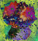 Impressionistic flowers in a vase. Impressionistic watercolor flowers in a vase Stock Photo