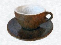 Impressionistic kaffekopp med plattan Stock Illustrationer