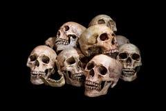 Impressionnante, pile de crâne, sur le fond noir, Photos libres de droits