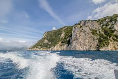 Impressions of a boat trip around the island of Capri in spring, Italy stock image