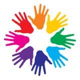 Impressions colorées de main Photos libres de droits