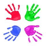 Impressions colorées de mains Images libres de droits