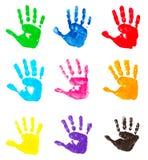 impressions colorées de main Images libres de droits
