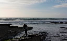 Impressions de brin de Trebarwith - les Cornouailles photographie stock