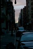 Impressions de Lower Manhattan Noirci-À l'extérieur Image libre de droits