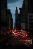Impressions de Lower Manhattan Noirci-À l'extérieur image stock