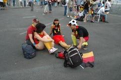 Impressions du mille Fanmeile de fan à la coupe du monde du football 2006 à Berlin le 30 juin 2006 avant le betwe de quart de fin Image libre de droits