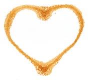 Impressions en forme de coeur de cuvette de café Images stock