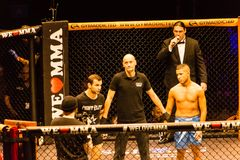Impressions from We Love MMA 34, Hamburg, Germany. Hamburg, Germany - Nov 18th, 2017: The main event fight between Dimitar Kostov and Thiago Huber during We Love royalty free stock photography