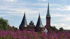 Impressions of luebeck. Old buildings in lovely luebeck Stock Photos
