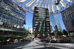 Impressions from the Sony Center at Potsdam square, Potsdamer Platz in Berlin from June 1, 2017, Germany. Berlin, Germany – June 1, 2017 Royalty Free Stock Photography