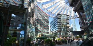 Impressions from the Sony Center at Potsdam square, Potsdamer Platz in Berlin from June 1, 2017, Germany. Berlin, Germany – June 1, 2017 Royalty Free Stock Photos