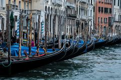Gondolas on the Canale Grande in Venice. Impressions of Venice, Italy with ist old houses, Channels and Gondolas and Canale Grande, Piazza San Marco royalty free stock photo