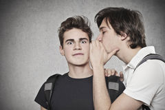 Impressive. A guy whispers something in the ear of another guy Royalty Free Stock Image