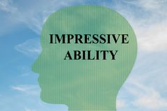 Impressive Ability concept. Render illustration of IMPRESSIVE ABILITY title on head silhouette, with cloudy sky as a background Royalty Free Stock Photo