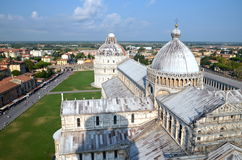 Impressive aerial view on Square of Miracles in Pisa, Italy Royalty Free Stock Image