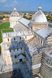 Impressive aerial view on Square of Miracles in Pisa, Italy royalty free stock photos