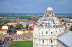 Impressive aerial view on Square of Miracles in Pisa, Italy Royalty Free Stock Images