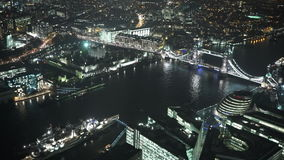 Impressive aerial view of Tower Bridge and London City Hall. LONDON, ENGLAND stock footage