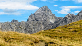 Impressive alpine peak with yellow grass Stock Photo