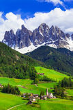 Impressive Alpine scenery - val di Funes in Dolomites mountains, Stock Photo