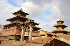 The impressive architecture of Patan Durbar Square. Taken in Nepal, August 2018 stock photography