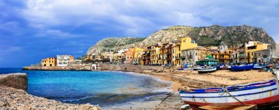 Traditional fishing village Aspra in Sicily, Italy. Impressive Aspra village,view with fishing boat and traditional houses,Bagheria,Sicily,Italy Stock Photography