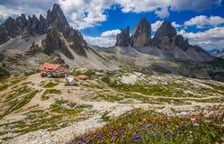 Impressive and beautiful view of the Tre Cime di Lavaredo on summer morning, Italian Dolomites royalty free stock photo