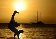 Impressive break-dance on sunset, romantic sailboat.