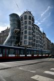 Tramway and dancing house in Prague royalty free stock photos
