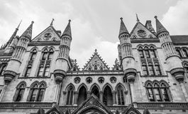 Impressive building of the Royal Courts of Justice in London stock images