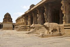 Impressive carvings of elephant balustrades at the south entrance to the maha-mandapa, the ardha-mandapa and a shrine, Krishna Tem. Ple, Hampi, Karnataka, India royalty free stock photo