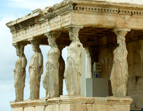The Impressive Caryatid Porch of the Erechtheum Ancient Greek Temple on the Acropolis, Greece Royalty Free Stock Images