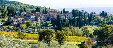 Traditional rural landscapes and villages of Tuscany. Chianty vi Stock Image