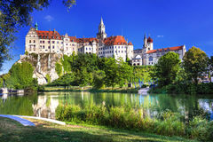 Impressive castle and beautiful park in Sigmaringen, Germany Royalty Free Stock Images
