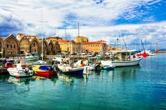 Travel in Greece - beautiful pier of old town Chania in Crete is. Impressive Chania town,Crete island,panoramic view,Greece Royalty Free Stock Photos