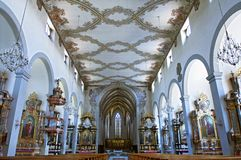 Impressive church interior Franciscan church Freiburg Royalty Free Stock Images