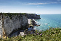 The impressive cliffs of Etretat in Normandy, France Royalty Free Stock Images