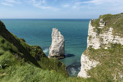 The impressive cliffs of Etretat in Normandy, France Stock Photos