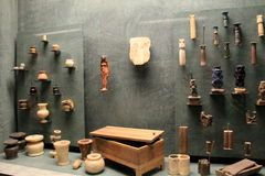 Impressive collection of artifacts displayed in Egyptian exhibit,The Louvre,Paris,2016 Stock Images