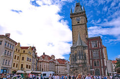 Impressive and colorful architecture at the Old Town Square in P stock photo